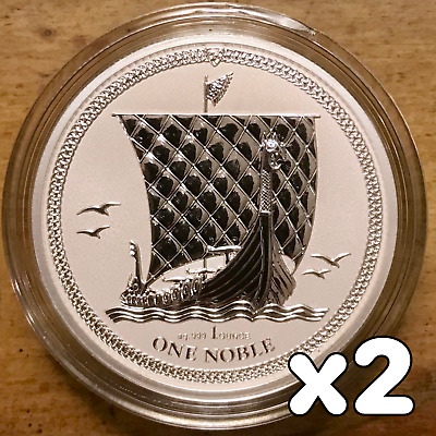 2017 Isle of Man Noble Silver Coin Reverse Proof .999 - 5000 Minted! (Lot of 2)