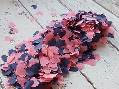 Coral And Navy Blue  Hearts Confetti Mix Romantic Wedding Decoration /2 Handfuls