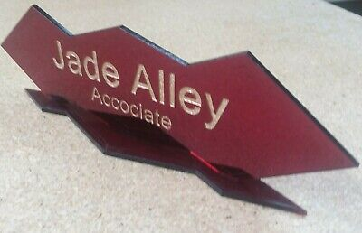 Personalized Acrylic Glass NAME PLATE BAR Desk Art Deco