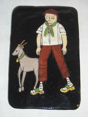 groteskes Wall Picture Boy with Goat Ceramics 50er Stamped