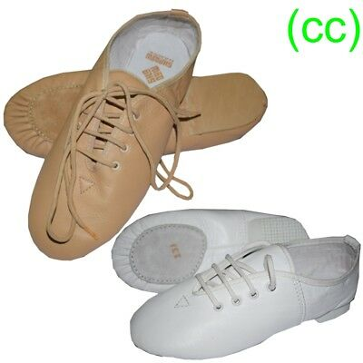 JAZZ DANCE SHOES Tan Nude and White Leather split suede sole (CC)