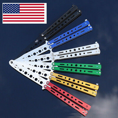 Rainbow Practice Tactical Knives Dull Knife Metal Butterfly Steel Trainer Gift