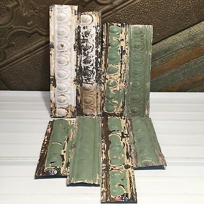 "7pc Lot of 24"" by 5"" Antique Ceiling Tin Vintage Reclaimed Salvage Art Craft"