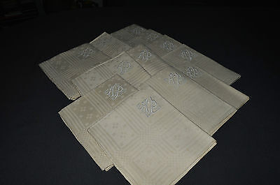 12 Towels Antique In Métis Embroidered A.p Damask Checkered/ Jamais Used