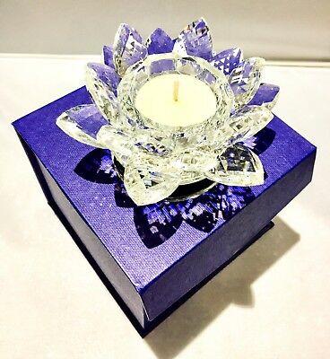 Crystal Cut Lotus Candle Holder Flower Rotating Ornament Clear Glass Gift Box UK