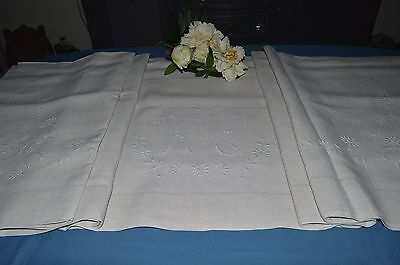 Sheet Antique Linen Embroidered A.c With Return And Flowers /jamais Uses