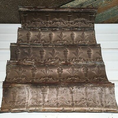 "5pc Lot of 23""- by 6"" Antique Ceiling Tin Vintage Reclaimed Salvage Art Craft"