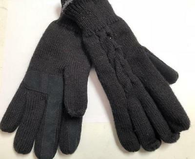 NEW Women's Winter Black Cable Knit Touchscreen Compatible Gloves, One Size