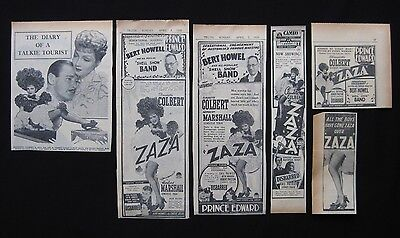 ZAZA 1939 Original movie advertising Claudette Colbert Herbert Marshall Cukor