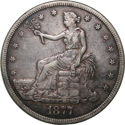 1877-S T$1 U.S. Silver Trade Dollar A1 - Original with Type 2 Obverse & Reverse