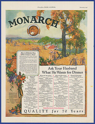 Vintage 1926 MONARCH Foods Ketchup Tea Coffee Kitchen Art Decor Print Ad 1920's