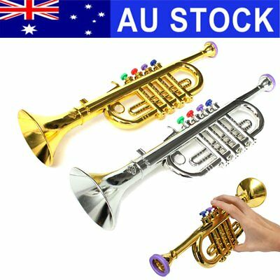AU Mini Golden&Silver Horn Trumpet Musical Instrument Toy Educational Kid's Gift