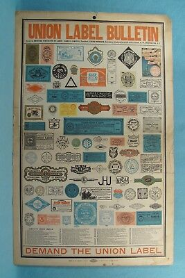 SWEET- 1906 Union Label Thin Cardboard Advertising Sign w/ 64 DIFFERENT Beer etc