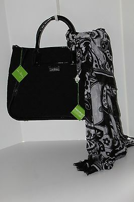 NWT Vera Bradley 2pc Set Lot Bag & Scarf Classic Black Trapeze Tote Fringe purse
