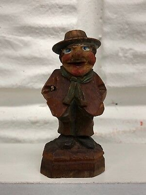 "Vintage 2.5"" ANRI Wooden HandCarved Man Cariacture Figure Made In Italy Unmarked"