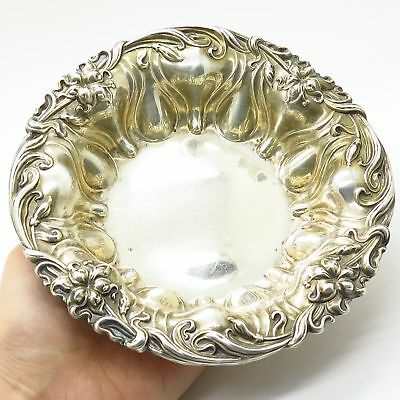 Antique Meriden Brittania 925 Sterling Silver Repousse Floral Bowl / Candy Dish
