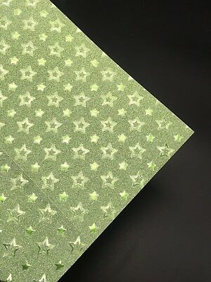 5 X A4 Glitter Cardstock Craft Paper Green Star Scrapbooking Card Making Craft
