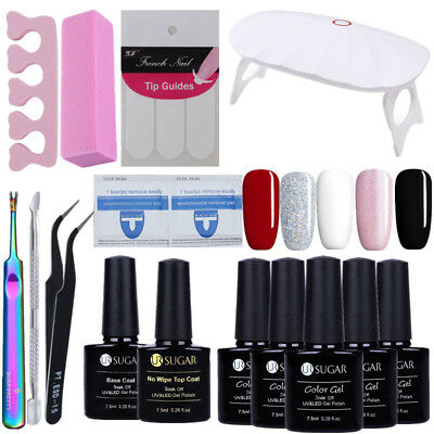 UV Gel Nail Polish Top Base Coat File UV Lamp Gel Remover Pads Nippers Tips Kits