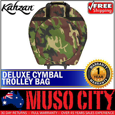 New Kahzan Deluxe Padded Cymbal Trolley Bag Carry Case for Drum Kit (Camo)