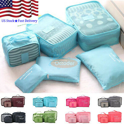 6Pcs US Waterproof Luggage Clothes Travel Storage Bags Pack Cube Organizer Pouch