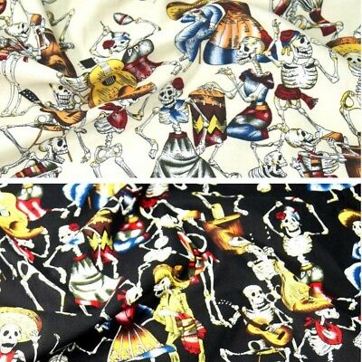 100% Cotton Fabric Day Of The Dead Skeletons Halloween Mexican 145cm Wide Gothic