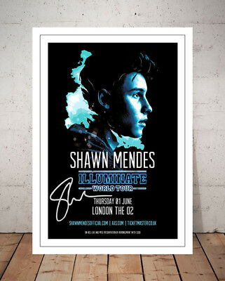 Shawn Mendes Illuminate 2017 O2 London Concert Flyer Autographed Signed Print