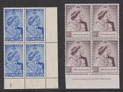 SWAZILAND 1948 ROYAL SILVER WEDDING 10s IN IMPRINT BLOCK SG 46-47 MNH.