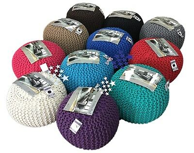 Large Round Foot Stool Moroccan Cushion Handmade Cotton Chunky Knitted Pouffe