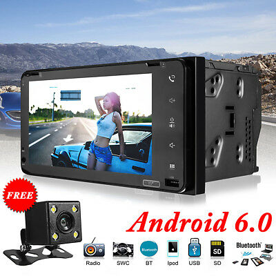 7'' 2 DIN Bluetooth WIFI Android 6.0 Car MP5 Player Stereo GPS Dual-core FM AM