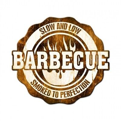 Vintage Metal Sign NOT TIN Bbq Slow And Low Smoked To Perfection 24 x 21