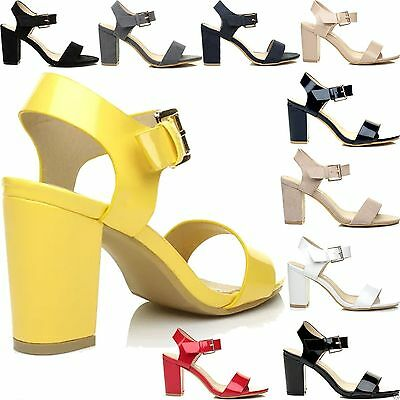 a1500387bd2 NEW WOMENS LOW Mid Heel Block Peep Toe Ladies Ankle Strap Party Strappy  Sandals - £6.99