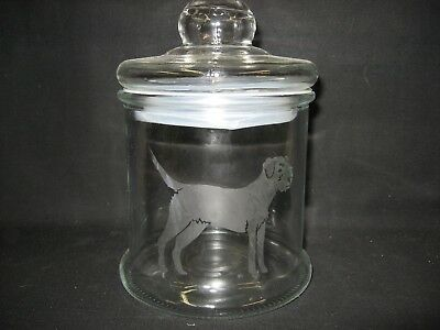New Etched Border Terrier Glass Cookie Candy Storage Jar Canister