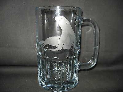 New Etched Seal Sea Lion Glass Root Beer Mug
