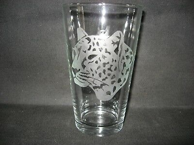New Etched Leopard Pint Glass Tumbler