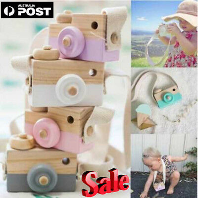 Hanging Wooden Mini Camera Toy Toddler Kids Home Decor Photography Prop Sple GT