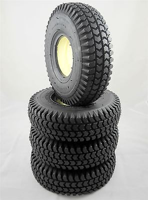 Set of 4 Black 3.00-4 300x4 (260x85) Solid Block Innova Mobility Scooter Tyres