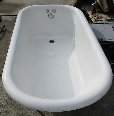 Vintage 5 Foot Cast Iron Claw Foot Tub With Ball & Claw  Faucet & Shower Ring #4