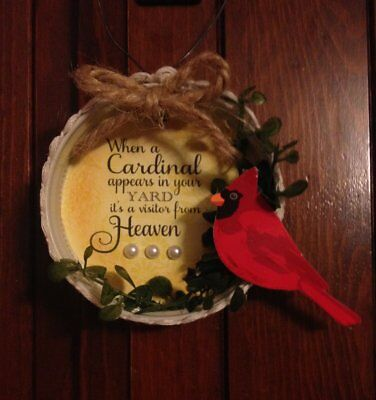 handcrafted *ORNAMENT* when a CARDINAL appears in your yard MASON JAR LID