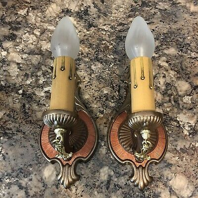 Wired Pair Antique Brass & Copper Finish Wall Sconce Fixtures 23A