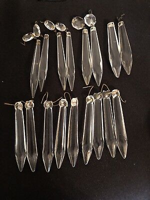 17 Assorted Antique Crystal Glass Icicle Prisms Chandelier Hanging Oil Lamp Part