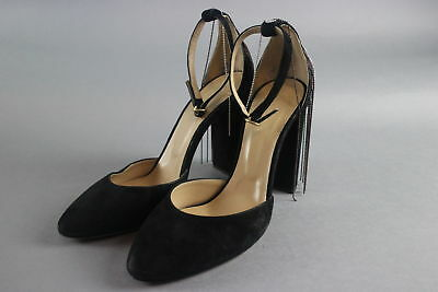 NWT $492 Chloe Liv Black Suede D'orsay Red & Silver Beaded Pump Size 10