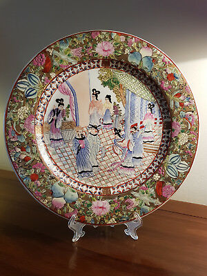 Large, Vintage Chinese/japanese Famille Rose, Court Scene, Plate/charger