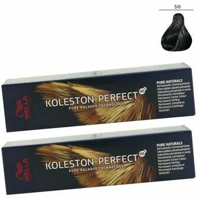 2 x Wella Koleston Perfect ME Pure Naturals 60 ml Set - 3/0 dunkelbraun