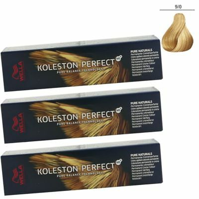3 x Wella Koleston Perfect ME Pure Naturals 60 ml Set - 9/0 lichtblond
