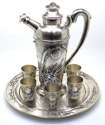 Rare Antique Japan Solid 800 Silver Bamboo Pot & 6 Cups on Plate Designer Set