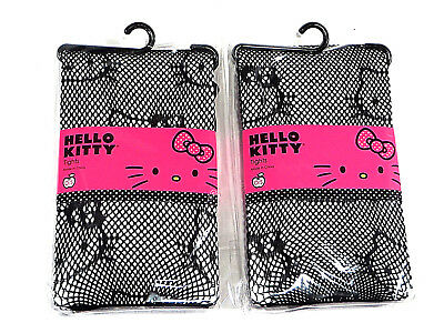 Hello Kitty Fishnet Black Tights Sanrio Design Lot of 2 Pairs Girls O/S New