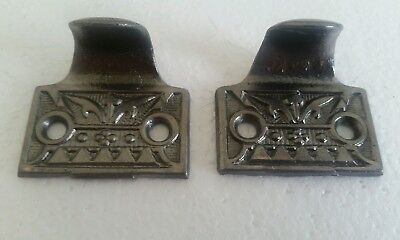 Pair Of Antique Cast Iron Window Lifts Sash Lifts Cleaned #(238C)
