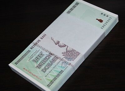 5X Zimbabwe 50 Trillion Dollars | Uncirculated | 2008 Aa | 100% Genuine!