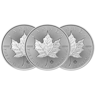 Lot of 3 - 2018 $5 Silver Canadian Maple Leaf 30th Incuse 1 oz Brilliant Uncircu