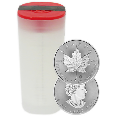 Lot of 25 - 2018 $5 Silver Canadian Maple Leaf 30th Incuse 1 oz BU Full Roll
